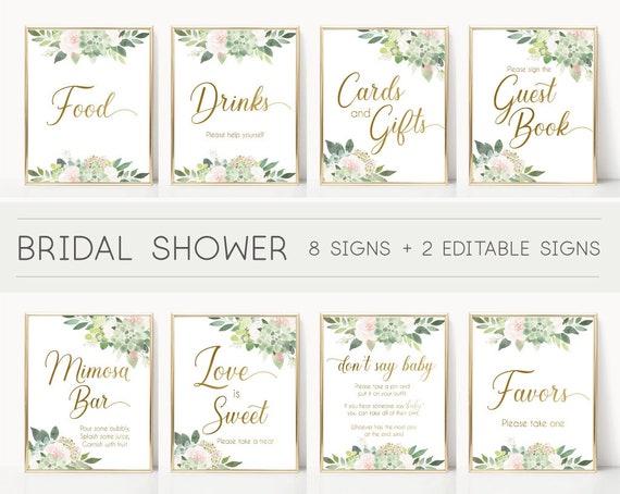 Bridal Shower Sign Set, Bridal Shower Sign Package Bundle, Bridal Succulent Signs, Editable Sign, Bridal shower Succulent Greenery and gold