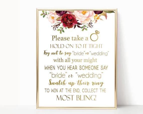 Don't Say Bride or Wedding, Bridal Shower Games Printable, don't say bride game, Marsala Burgundy Blush Floral Gold, INSTANT DOWNLOAD
