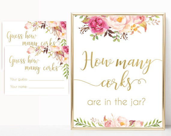 How many corks are in the jar sign, Blush Bloom Pink Gold, How many corks cards and sign Bridal Shower How many corks, instant download