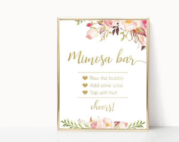 Mimosa Bar Sign, Romantic Blooms Rose Floral and Gold, Bubbly Bar sign, Wedding Bar Sign