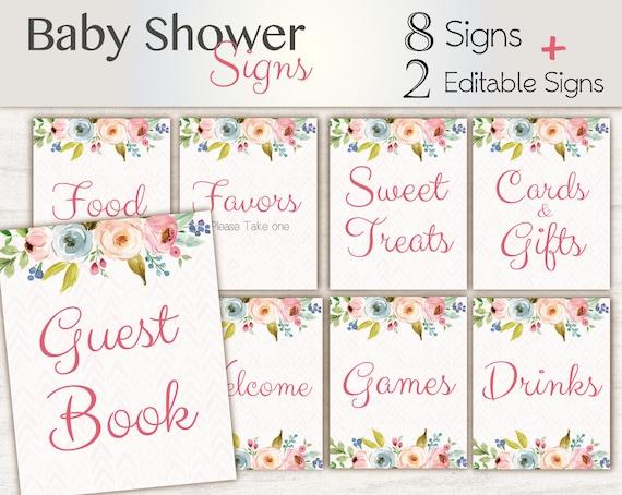 Baby Shower Sign Set, Baby Shower Editable Sign Package Set Bundle, Printable Baby Sign, Editable Sign, Floral Sign, Baby Shower Girl