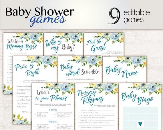 Baby Shower Games, editable games, Baby Shower Game Package Set Bundle , Printable Baby Games, Baby Shower Boy, Floral Game Set, Games Blue,