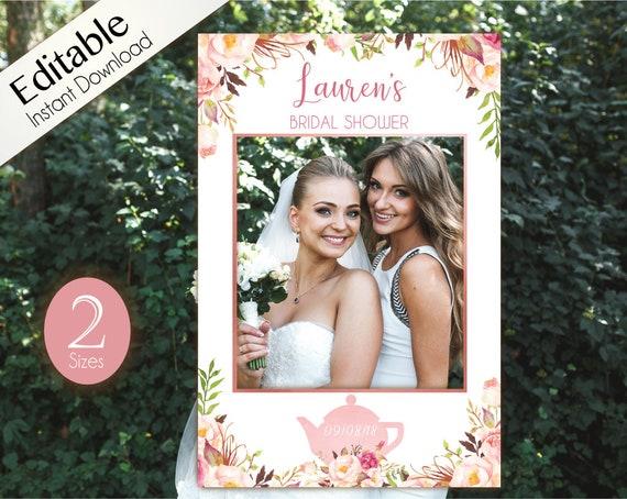 Bridal Tea Photo Booth Frame, Photo Prop Frame, Party Tea Photo Booth Prop, Editable PDF, Romantic Blooms Rose Floral Rose Gold Tea pot