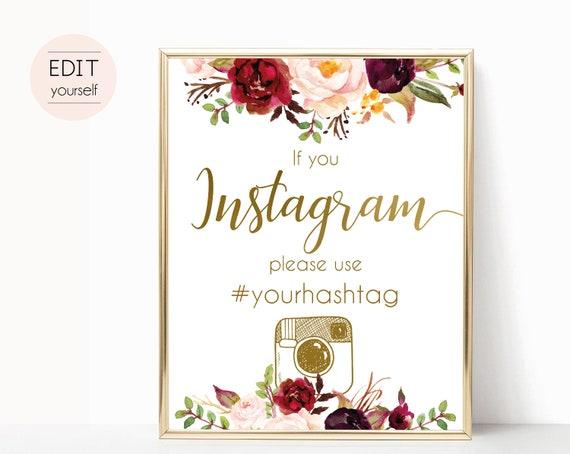 Instagram Bridal Sign, Instagram Wedding Sign, If You Instagram Sign, Marsala Burgundy Gold, Editable Wedding Hashtag Sign, Instagram Sign