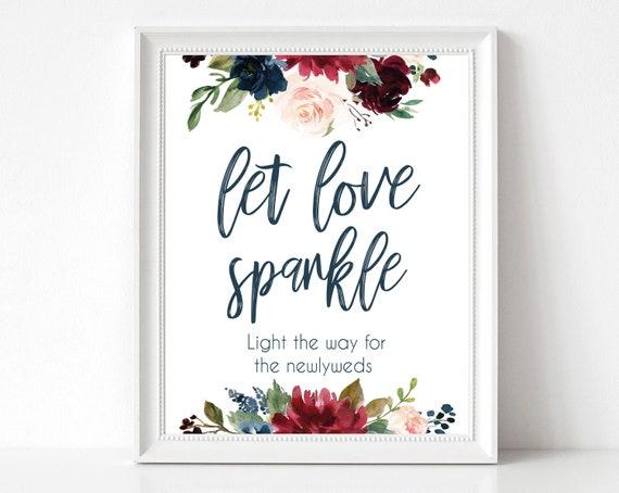 Let Love Sparkle Sign Template, Wedding Send Off, Send off Sparkles, Reception Sign, Wedding Exit Sign, Sparkler Sign, Navy Blue Marsala