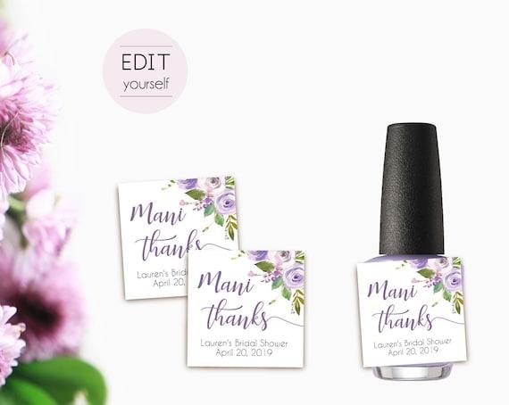 Editable Mani Thanks Tags, Bachelorette Party Tags, Nail Polish Tags, Nail Polish Favor Tags, Lilac Purple Floral, Favor Mani Thanks