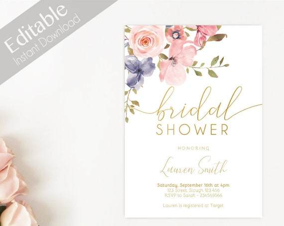 Bridal Shower Invitation Editable PDF, Bridal Shower Printable, Romantic Blush Pink Floral Gold Bridal, DIY Bridal Invitation Template Clean
