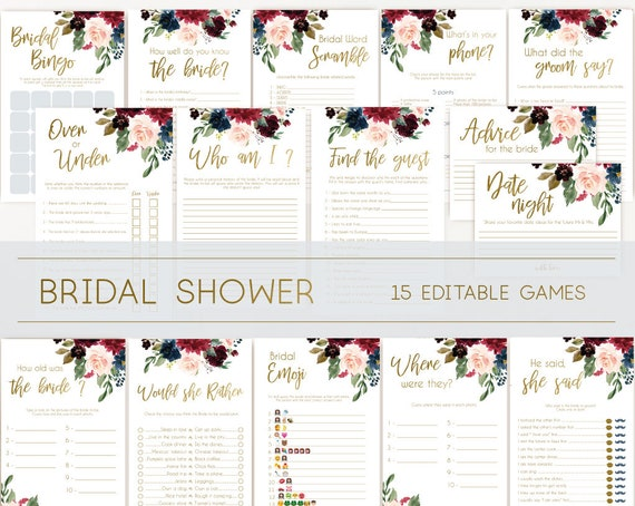Bridal Shower Games, Bridal Shower Games Bundle, wedding shower games, editable games, Blue Navy Marsala Burgundy Blush and Gold