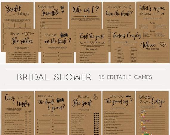 Bridal Shower Games, Bridal Shower Games Printable, Bridal Shower Games Bundle, Bridal Games Rustic, Editable Games, Wedding Shower Games