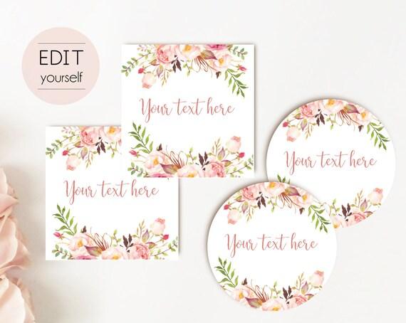 EDITABLE Label / Tag, Mimosa Bar Juice Tags, Bar Drink Tags, Editable Labels Bridal Shower Decoration, Romantic Bloom Blush Pink, RoseGold