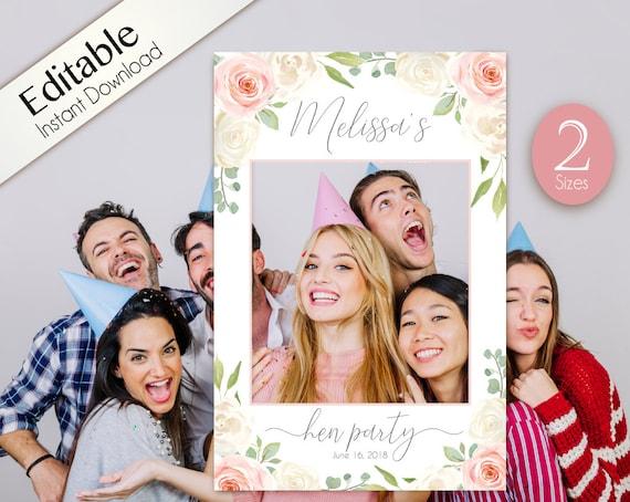 Hen party Photo Prop, Photo Prop Frame, hens prop frame, Photo Booth Prop Frame, Hen Party Decor Hen party Romantic White Blush Pink Floral