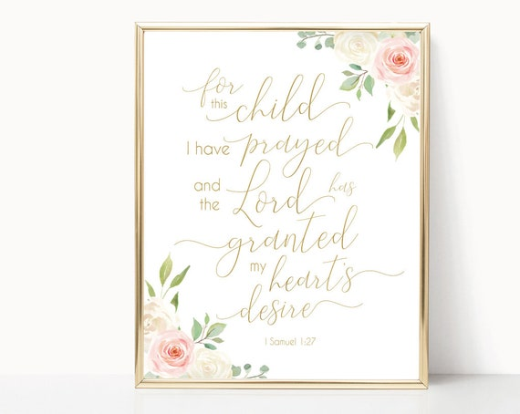 Nursery Decor For This Child We Have Prayed Bible Verse Decor Baby Shower Gift Christian Art, 1 Samuel 1:27 Romantic Blush Pink White Gold