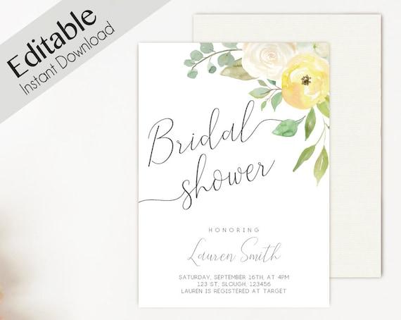 Bridal Shower Invitation Editable PDF, Bridal Shower Printable, Romantic Yellow White Floral, DIY Bridal Invitation White Yellow