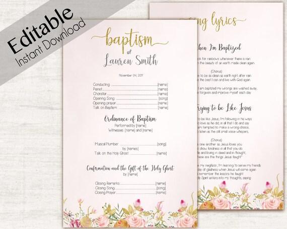 Baptism Program LDS Printable Digital, Editable PDF, Songs Handout Girl Baptism Pink Gold Flowers, Baptism Template