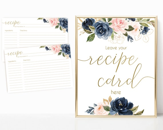 Recipe Cards Bridal Shower, Recipe Sign, Navy Blue Blush Rose Flowers Gold, Recipe Card  and Sign, INSTANT DOWNLOAD Printable, BG01