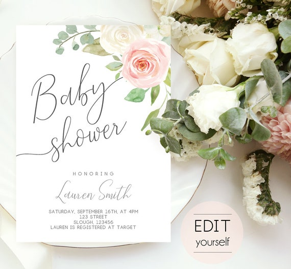 Baby Shower Invitation, Editable PDF, Baby Shower Printable, Romantic Blush Pink White Floral, DIY Baby Invitation