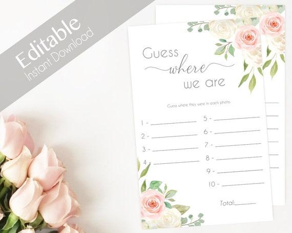 Bridal Shower Game Where we are Editable PDF Bridal Shower Romantic Blush Pink White Watercolor Flowers, Editable Game, guess where we are