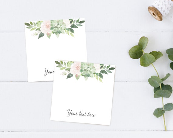 Editable Hair Tie Cards, Favor Tag Bridal Shower Template, Instant Download, Succulent Greenery Dusty Rose Flowers, Corjl