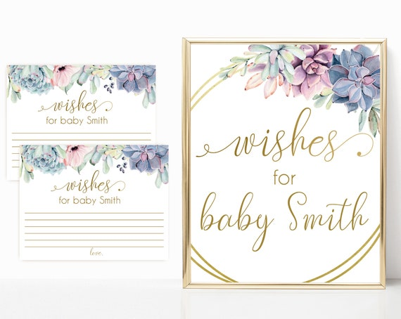 Editable Wishes for baby sign, Editable Wishes Cards, Baby Shower Sign Printable, Succulents Lilac Blue Pink, Baby Shower Succulents