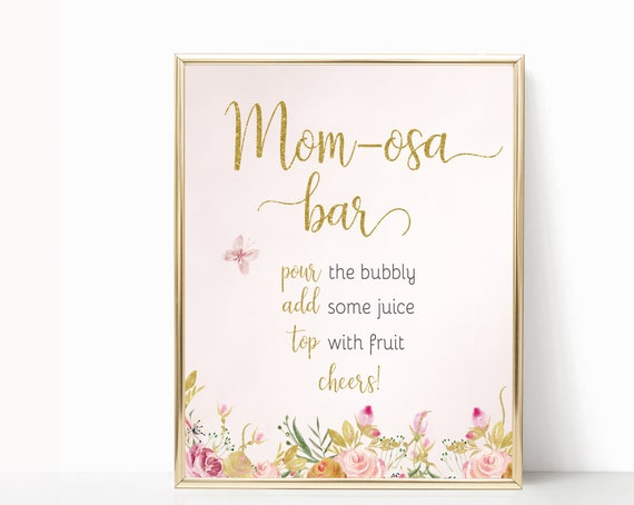 Momosa Bar Sign Baby Shower Template, Baby Shower Printable, Instant Download,  Baby Shower Sign, Baby shower Butterfly flowers floral