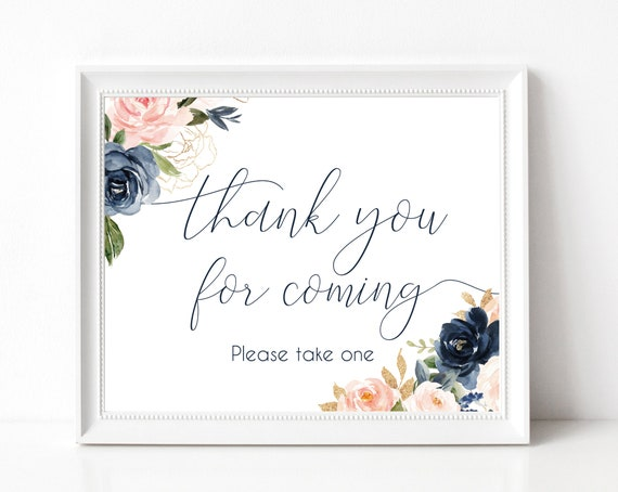 Thank you for coming Sign,Printable Sign Baby Bridal Wedding Shower Sign, Favor Sign, Please take one Sign, Navy Blue Dusty Rose Floral
