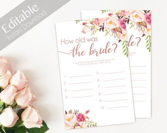 Bridal Shower Game How old was the bride, Editable PDF, Bridal Shower Romantic Blush Pink Rose Gold INSTANT DOWNLOAD Wedding Shower Game
