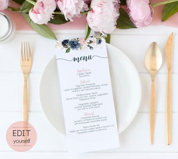 Editable Menu Bridal Shower, Party Menu, Printable Menu, Dusty Rose Navy Blue Gold Floral, Event Menu, Floral Menu Card Wedding Reception