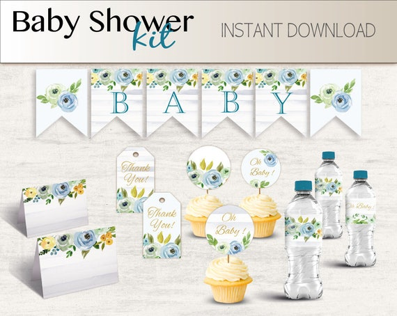 Baby Shower Kit, Baby Shower Boy Set, Baby Shower Decorations, Baby Shower Blue Floral, Banner+Tag+cupcake topper+ water bottle+tent card