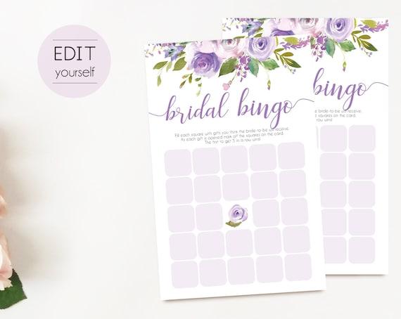 Bridal Bingo Game, Editable PDF, Bridal Shower Lilac Purple Floral, Watercolor Flowers, Wedding shower game, Bachelorette party game