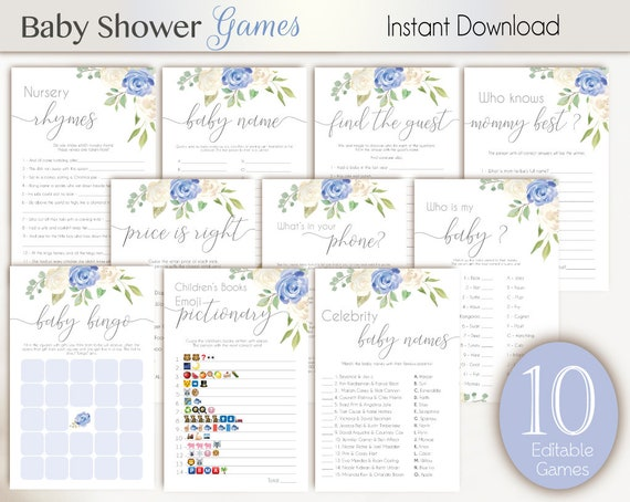 Baby Shower Games, White blue, Editable Baby Shower Games Package Set Bundle, Editable games, Baby Shower Games Boy, Baby Shower blue
