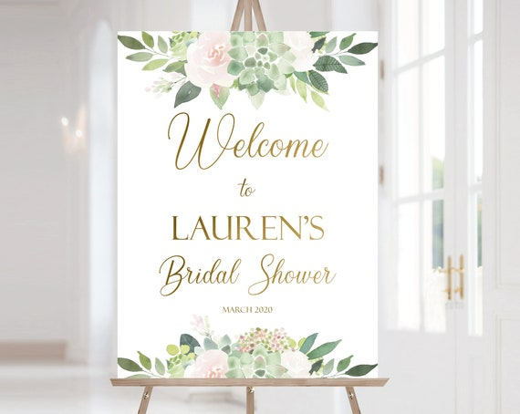 Succulent Welcome Sign Bridal Shower, Template Bridal Shower, Welcome Bridal Shower Sign Succulent Dusty Rose Flowers, Gold, Corjl