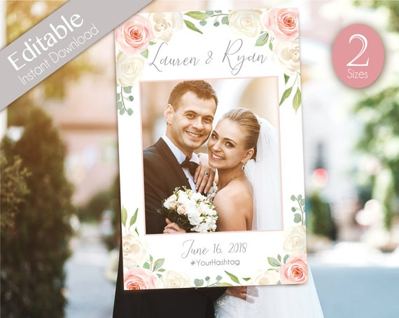 Wedding Photo Booth Frame, Wedding Photo Prop Frame, Photo Booth Prop, Instant Download, Editable PDF, Romantic White Blush Pink Floral