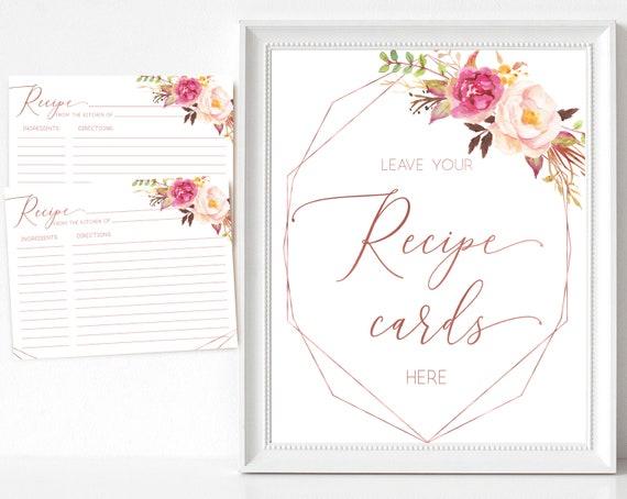 Recipe Cards Bridal Shower, Recipe Sign Rose Gold, Romantic Blush Rose Flowers Geometric, Recipe Card Printable, INSTANT DOWNLOAD