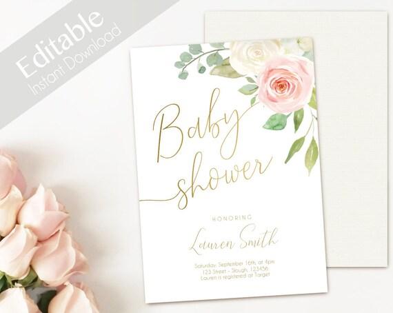 Baby Shower Invitation Editable PDF, Baby Shower Printable, Romantic Blush Pink White Floral Gold, DIY Baby Invitation White Pink 5x7 4x6