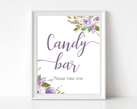 Candy Bar Sign, Candy Bar Wedding Sign, Candy Bar Please take one Sign Template, Lilac flowers, Candy Bar Party Sign