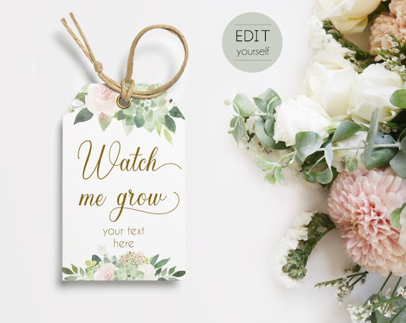 Baby Shower Favor Tag Succulent, INSTANT DOWNLOAD, Watch Me Grow Favor Gift Tag, Favor Tag Bridal Shower Template, Succulent Dusty Rose Gold