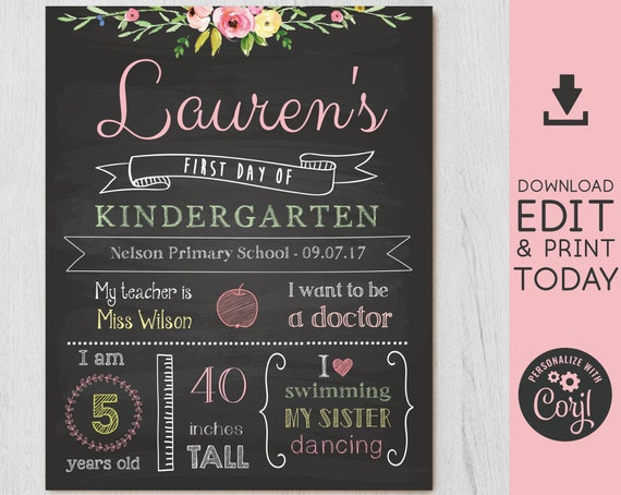 Back to School Sign, First/Last Day of School Sign Editable, First day of school chalkboard, Chalkboard Sign, INSTANT DOWNLOAD, Corjl