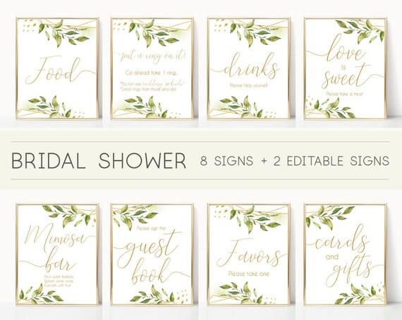 Bridal Shower Sign Set, Bridal Shower Sign Package Bundle, Printable Bridal Tea Sign, Greenery Bridal Shower Gold Sign, Editable Sign