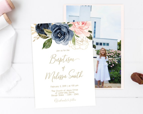 Baptism Invitation Girl, Editable PDF, Navy Gold and Blush Floral Invitation, Baptism Invite, Flower watercolor Baptism, Baptism Template