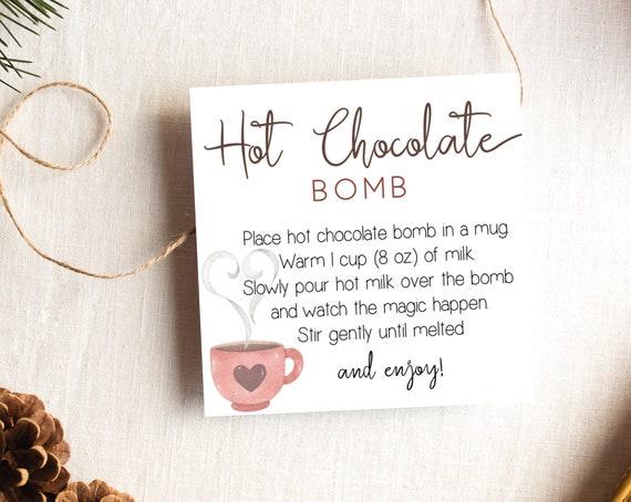 Hot Chocolate Bomb Tag, Editable Hot Chocolate Bomb Tag, Printable Hot Cocoa Bomb Tag, Christmas Gift, Party Favor, Corjl, HC01