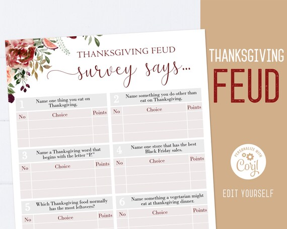 Thanksgiving Family Feud game, Editable Thanksgiving Feud, Friendsgiving game, Thanksgiving printable, Thanksgiving games, Corjl