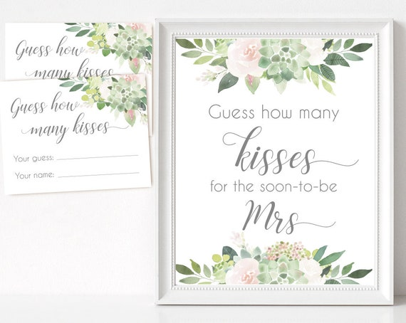 How many kisses for the soon-to-be Mrs, Succulent Bridal Shower Blush Pink How many kisses cards and sign Bridal Shower How many kisses card