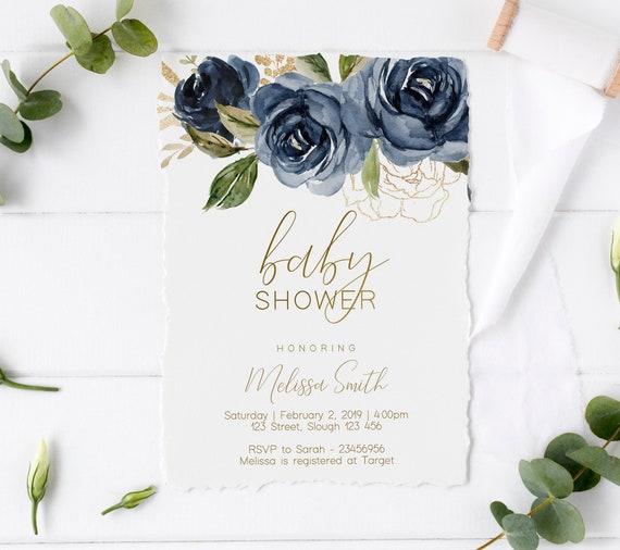 Baby Shower Invitation, Editable Navy Floral Gold Baby Shower invitation, Printable Baby Shower Invitation, Editable PDF, Blue Navy Baby