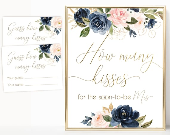 How many kisses for the soon-to-be sign, How many kisses cards and sign, Bridal Shower How many kisses, Navy Gold Rose Floral, BG01