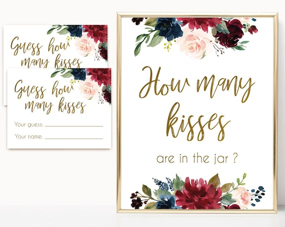 How many kisses are in the jar, Blue Navy Marsala Burgundy Blush Floral Gold, How many kisses cards and sign, How many kisses card