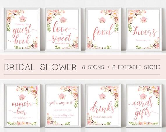 Bridal Tea Sign Set, Bridal Shower Sign Package Bundle, Printable Bridal Shower Sign, Romantic Blooms Rose Floral Gold Sign, Editable Sign