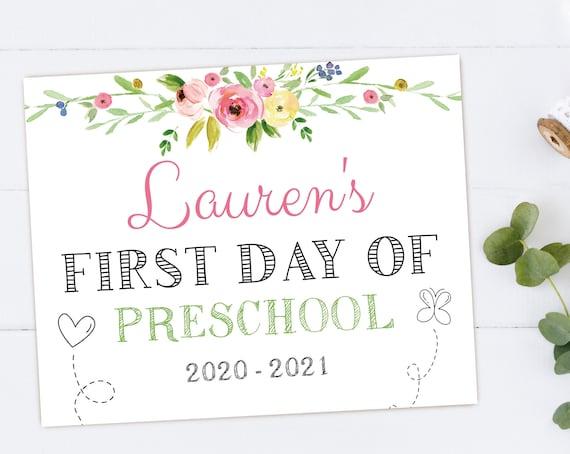 First Day of School / Last Day of School, Chalkboard Print, Editable PDF, flower, Art Print, Whiteboard Sign, Kindergarten, Grade, DIY Chalk