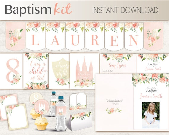 Baptism Girl Kit, Editable LDS Baptism Program, Cupcake Toppers, Water Bottle Wraps, Note Card, Poster Baptism, banner, peach flowers