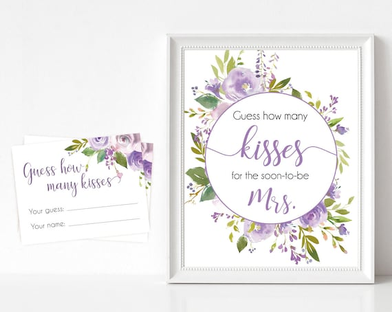 How many kisses for the soon to be Mrs, Floral Bridal lilac lavender, How many kisses cards and sign, Bridal Shower How many kisses