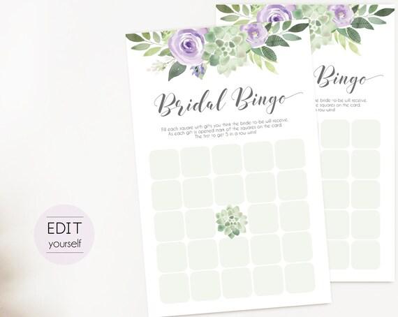 Bridal Bingo Game Editable PDF Bridal Shower, Succulent Lilac Greenery Watercolor Flowers, Wedding shower game Bachelorette party